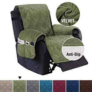 Luxurious Velvet Recliner Cover with Side Pockets, Slipcovers for Recliner, Oversized Chair Covers, Pet Cover for Recliner, Non-slip Furniture Protector Machine Washable (Recliner: Loden)