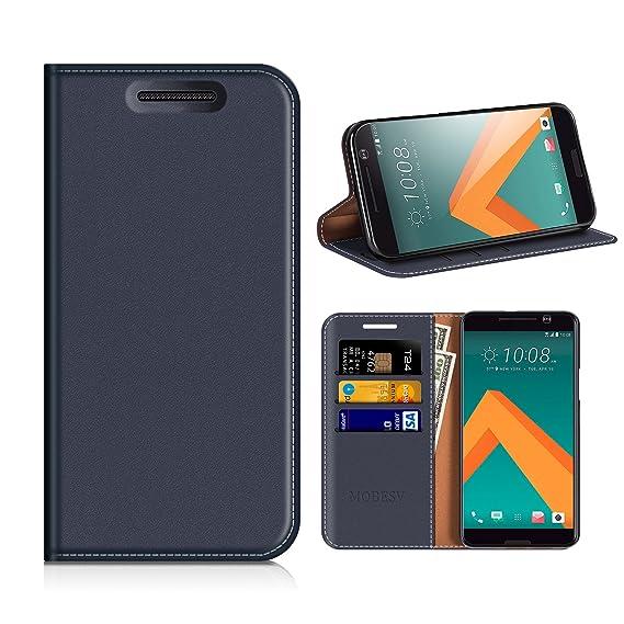 MOBESV Funda Cartera HTC 10, Funda Cuero Movil HTC 10 Carcasa Case con Billetera/Soporte para HTC 10 - Azul Oscuro