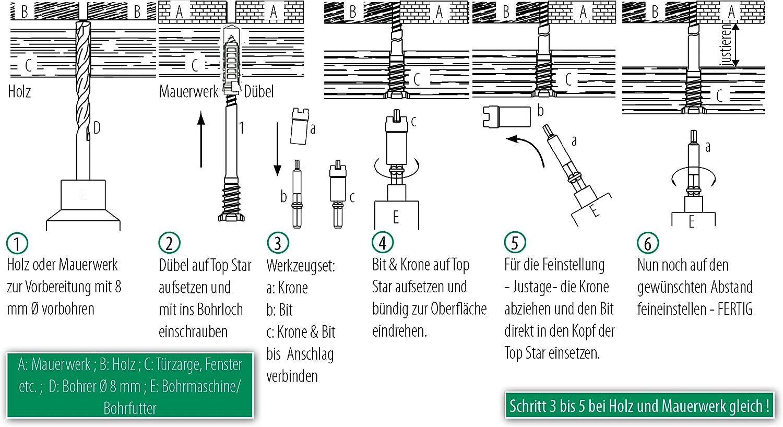 10 St/ück mit TYPE-17-Spitzeund Fein-Einstellung Patentiert TOPSTAR Distanzschrauben 6,0 x 63 mm Silverline