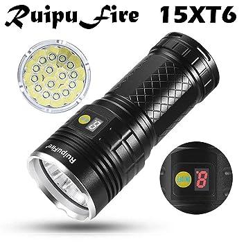 1x Supwildfire 50000LM 15 x XM-L T6 LED Power Digital Display Jagd Taschenlampe