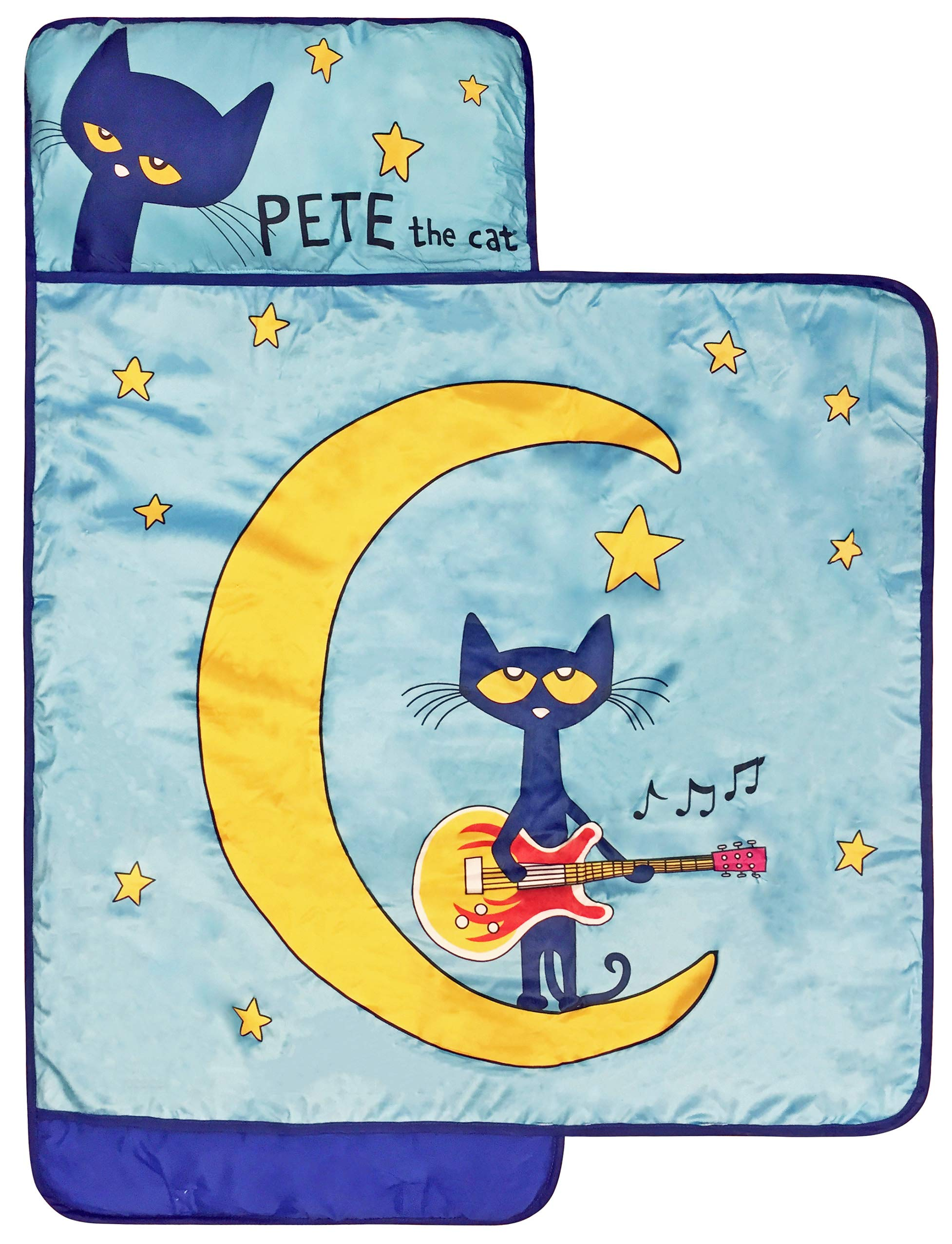 Pete The Cat Night Music Nap Mat - Built-in Pillow and Blanket - Super Soft Microfiber Kids'/Toddler/Children's Bedding, Ages 3-7 (Official Pete the Cat Product)