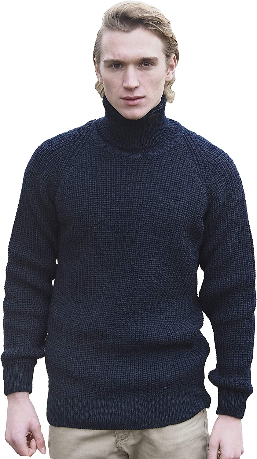 X-Future Mens Stylish Ribbed Cable Knit Turtleneck Long Sleeve Pullover Sweater