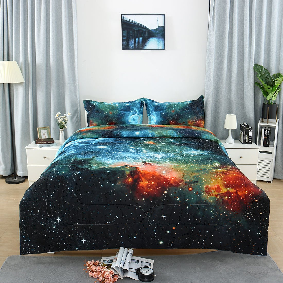 3-Piece Galaxies Blue Comforter Sets - 3D Printed Space Themed - All-Season Down Alternative Quilted Duvet - Reversible Design