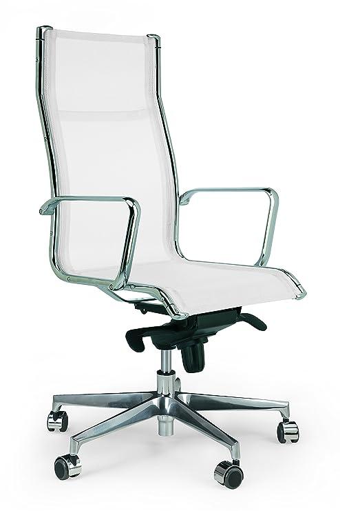 Silla de oficina y despacho Acer alta malla blanca