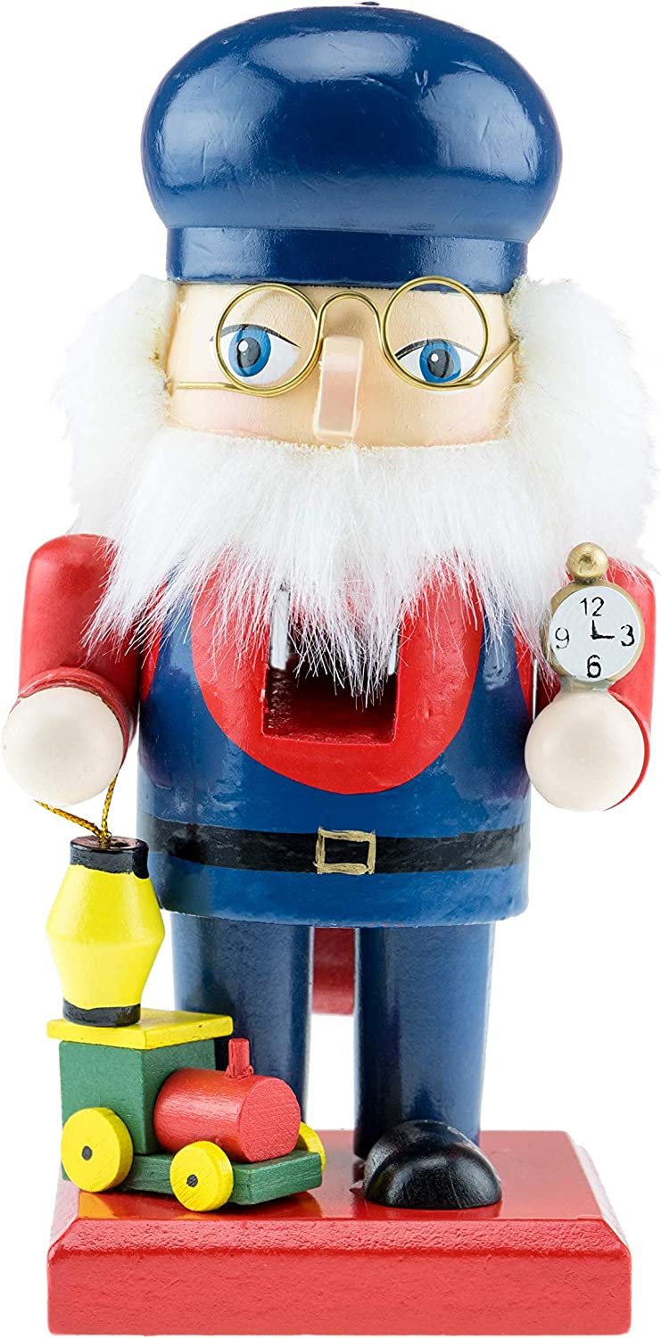 Clever Creations Bearded Train Conductor Nutcracker