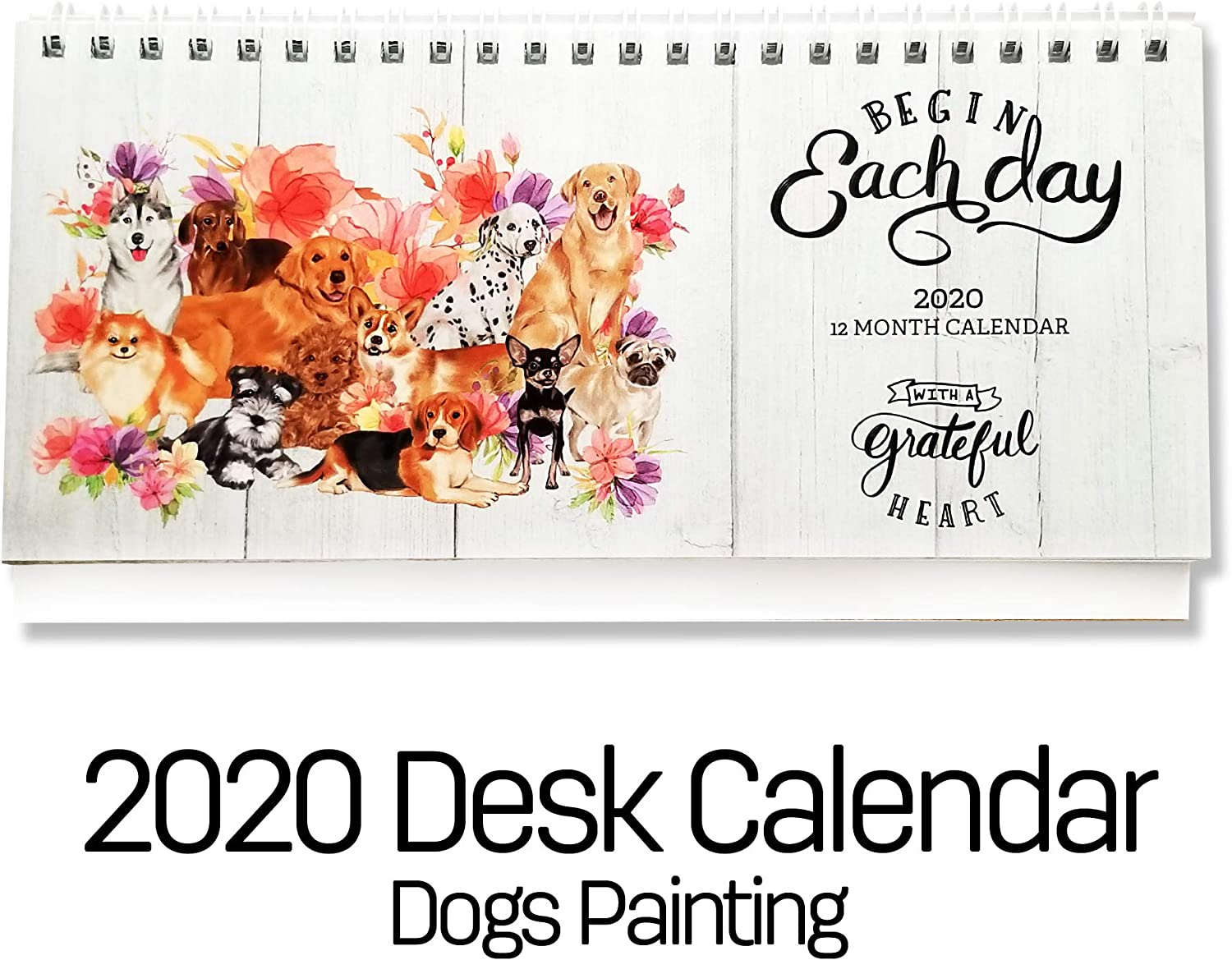 2020 Stand Up Desk Calendar-Cute Dog and Floral Theme Desk Calendar, Small Size Monthly Home, Business, Office Calendars for 2020-2021, 365 Days Planner and Decor. (2020 Version)