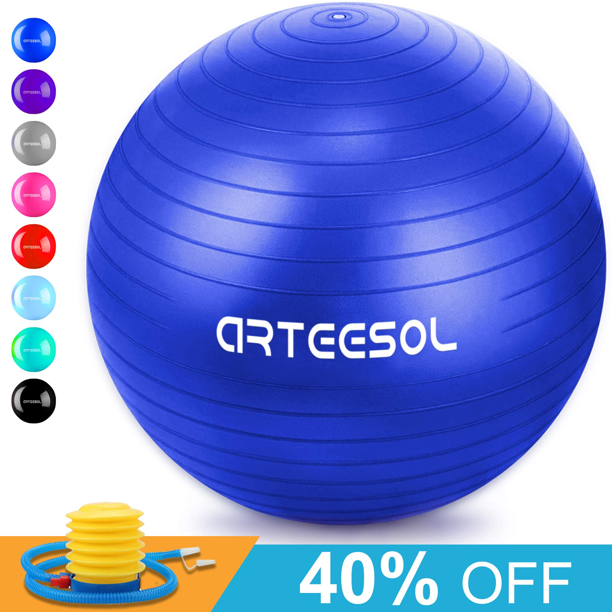 Arteesol Exercise Yoga Ball, Extra Thick Stability Ball Chair(45CM-77CM / 5 Colours), Professional Grade Anti Burst & Slip Resistant Balance, Fitness&Physical Therapy, Birthing Ball with Air Pump