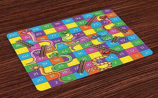 Esteras de juegos de mesa, serpientes lindas Caras sonrientes Números en las escaleras Escaleras Juegos infantiles para niños Imprimir, Manteles lavables para tela Comedor Decoración de la mesa de coc: Amazon.es: Hogar