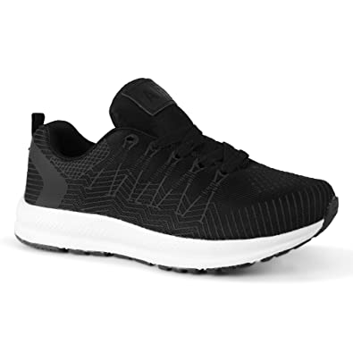 New Womens Black Lightweight Trainers Comfy Running Walking Lace Up Sneaker Shoe
