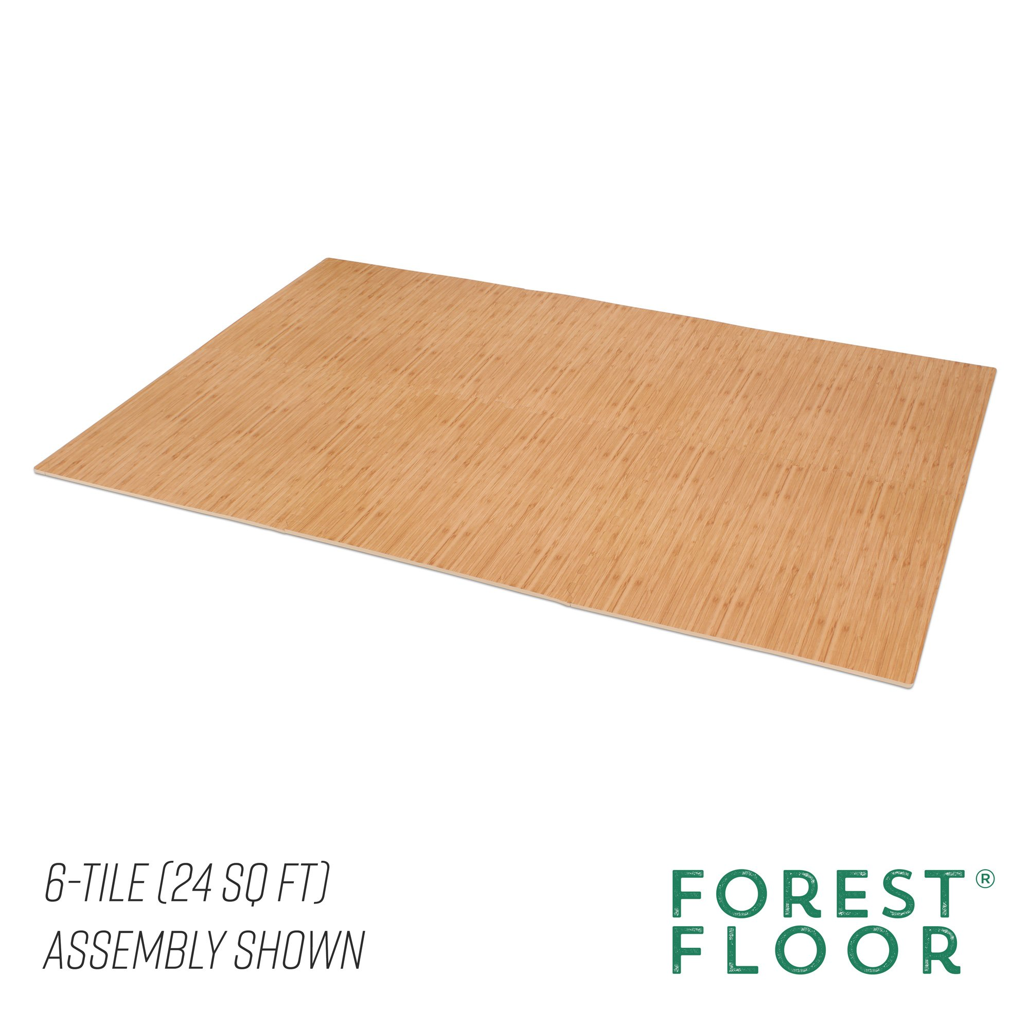 Forest Floor 3/8'' Thick Printed Wood Grain Interlocking Foam Floor Mats, 16 Sq Ft (4 Tiles), Light Bamboo by Forest Floor (Image #5)