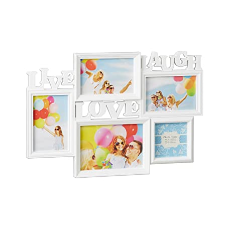 Relaxdays Picture Frame Live Love Laugh, Hanging Gallery for 5 ...