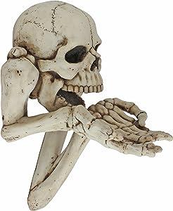 Design Toscano CL6762 Beggar for Souls Skeleton Wall Sculpture, 12 Inch, Faux Bone Finish
