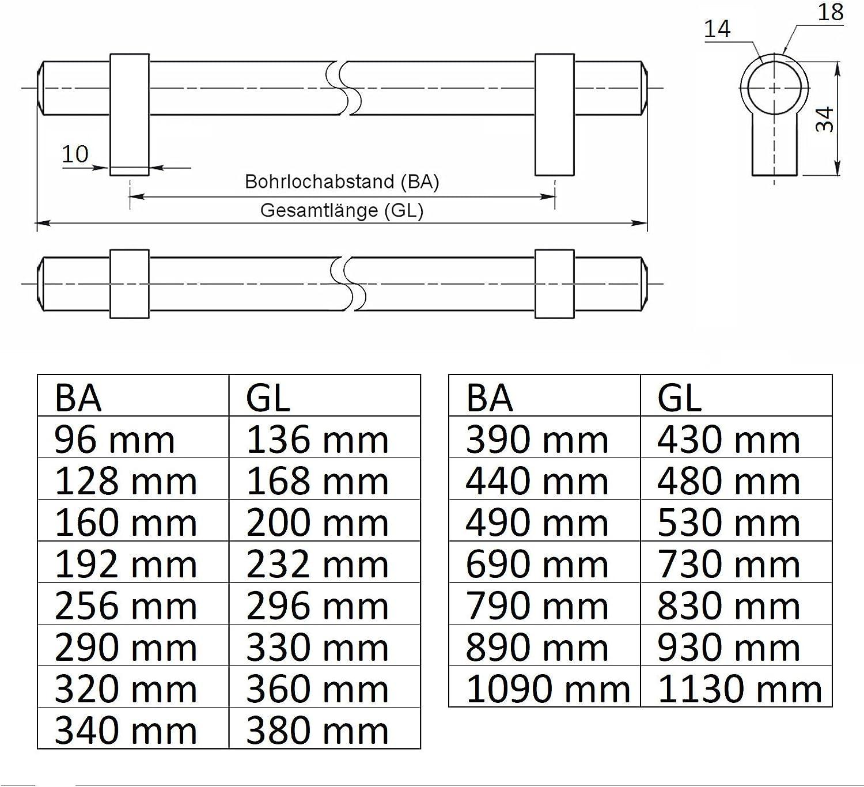 10 x SO-TECH/® Poign/ée Barre Poign/ée pour Tiroir G20 Finition en Acier Inox /Ø 14 mm Entraxe 96 mm