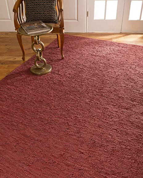 Natural Area Rugs Handmade Reversible Soriano Leather Rug 6' x 9' Red