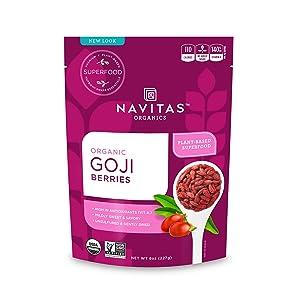 Navitas Organics Goji Berries, 8oz. Bag — Organic, Non-GMO, Sun-Dried, Sulfite-Free