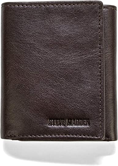 Steve Madden Rfid Leather Trifold Wallet Brown Smooth Grain Amazon Ca Clothing Accessories