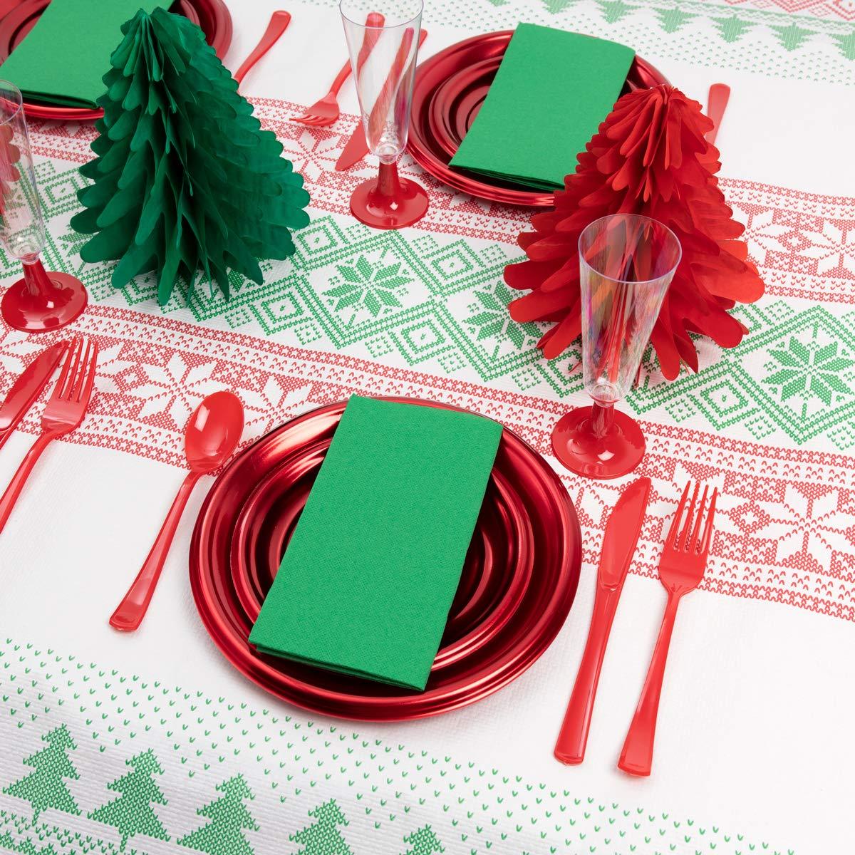 servilletas Kit Vajilla Navidad y Decoraci/ón Plata Platos Incluye Honeycombs Papel Pack Ahorro Cubiertos y Copas para 12 Personas
