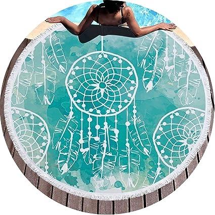 Toalla de Playa Redonda de Plumas con Borla, 450 g, 150 cm, Alfombra