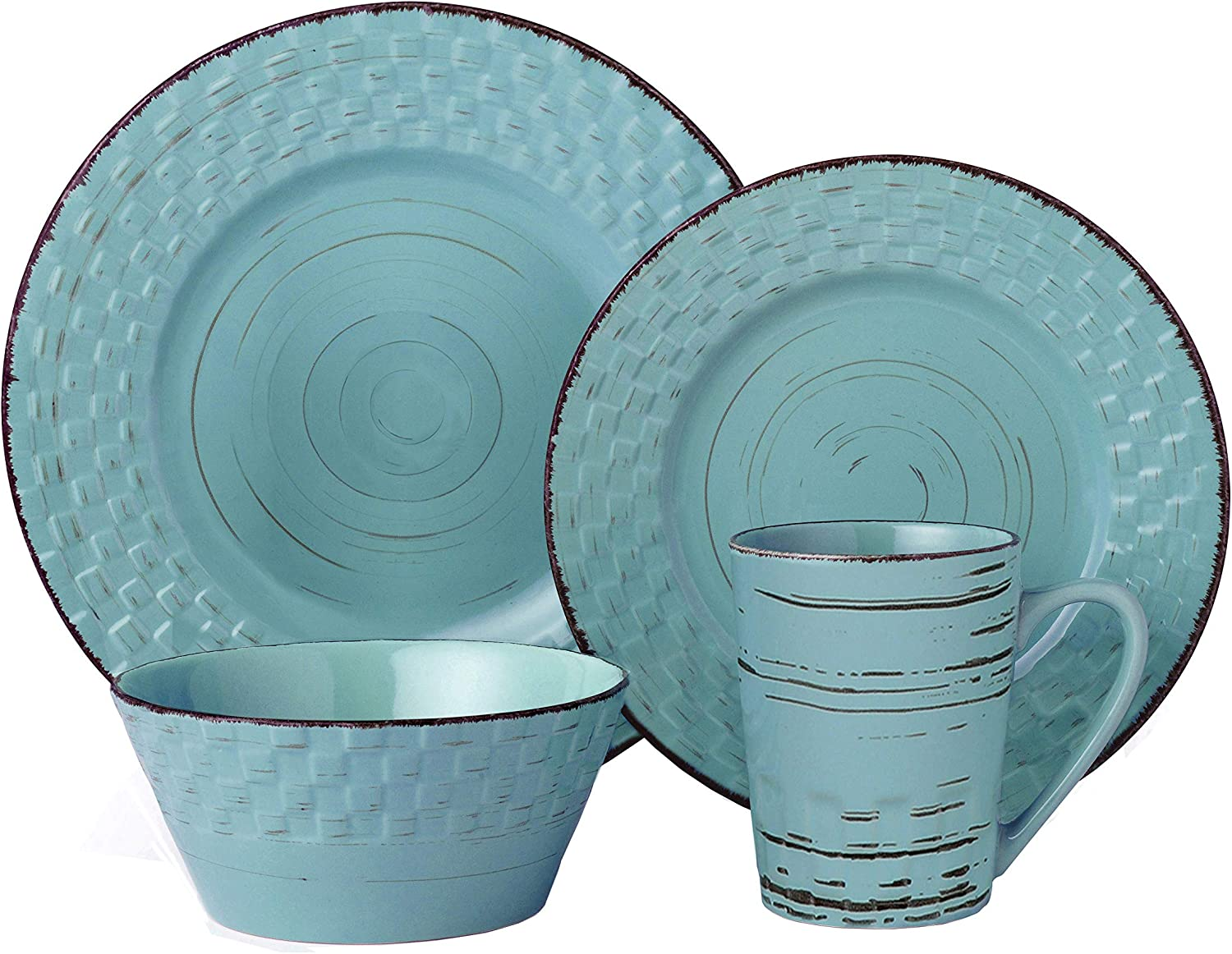 Lorren Home Trends Basket Dinnerware Set, Blue