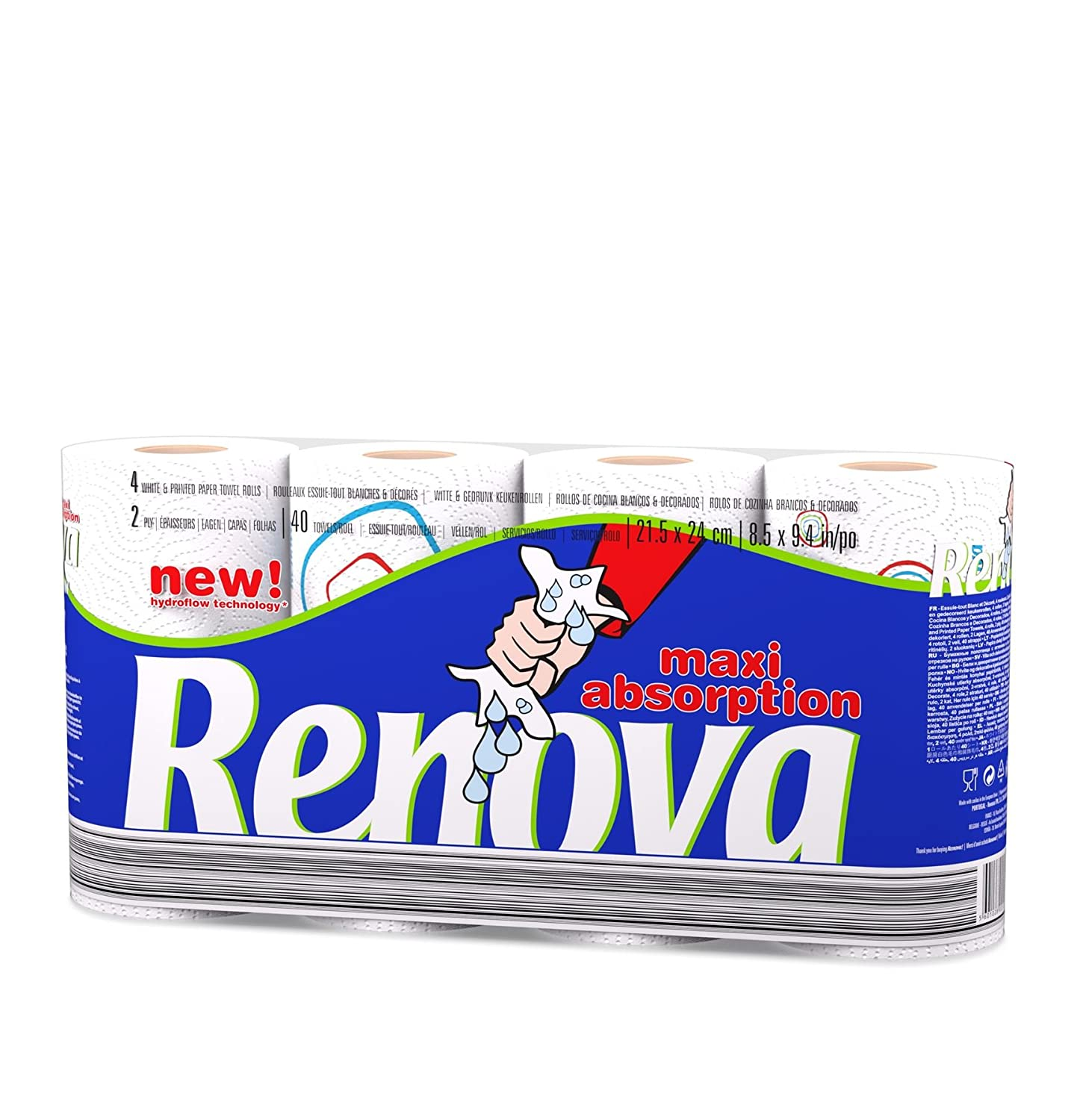 Renova Maxi Absorption Kitchen Tissue Paper Roll with New Hydrofolow Technology (4 Rolls)