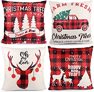Christmas Pillow Covers, 4 Packs Soft Cotton Linen Square Snowflake Elk Cushion Case Pillowcase, Home Decor & Decorative for Christmas Trees Bedroom Couch Sofa Car(18 x 18 Inch)