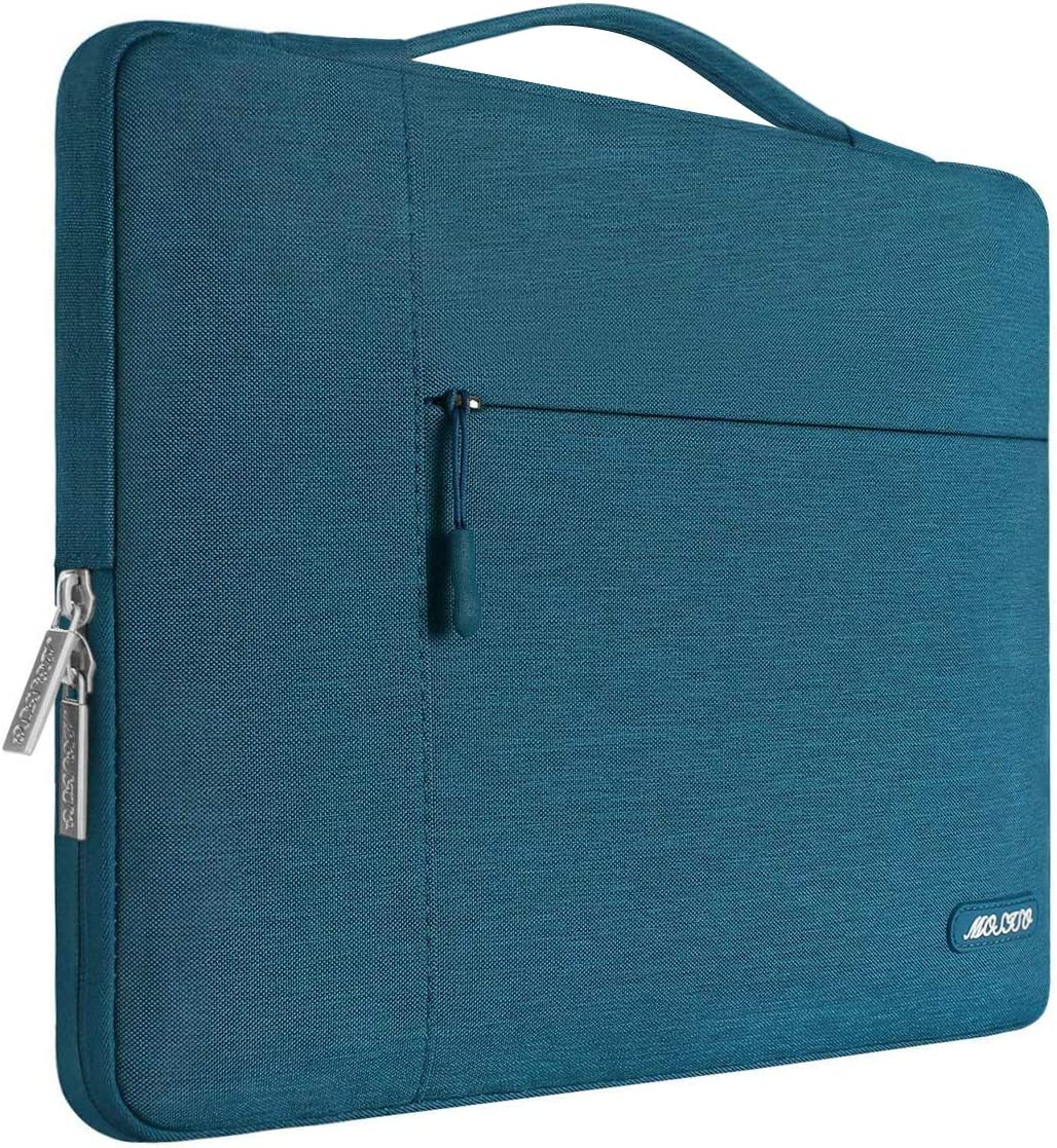 MOSISO Laptop Sleeve Compatible with MacBook Pro 16 inch, 15 15.4 15.6 inch Dell Lenovo HP Asus Acer Samsung Sony Chromebook,Polyester Multifunctional Briefcase Carrying Bag, Deep Teal