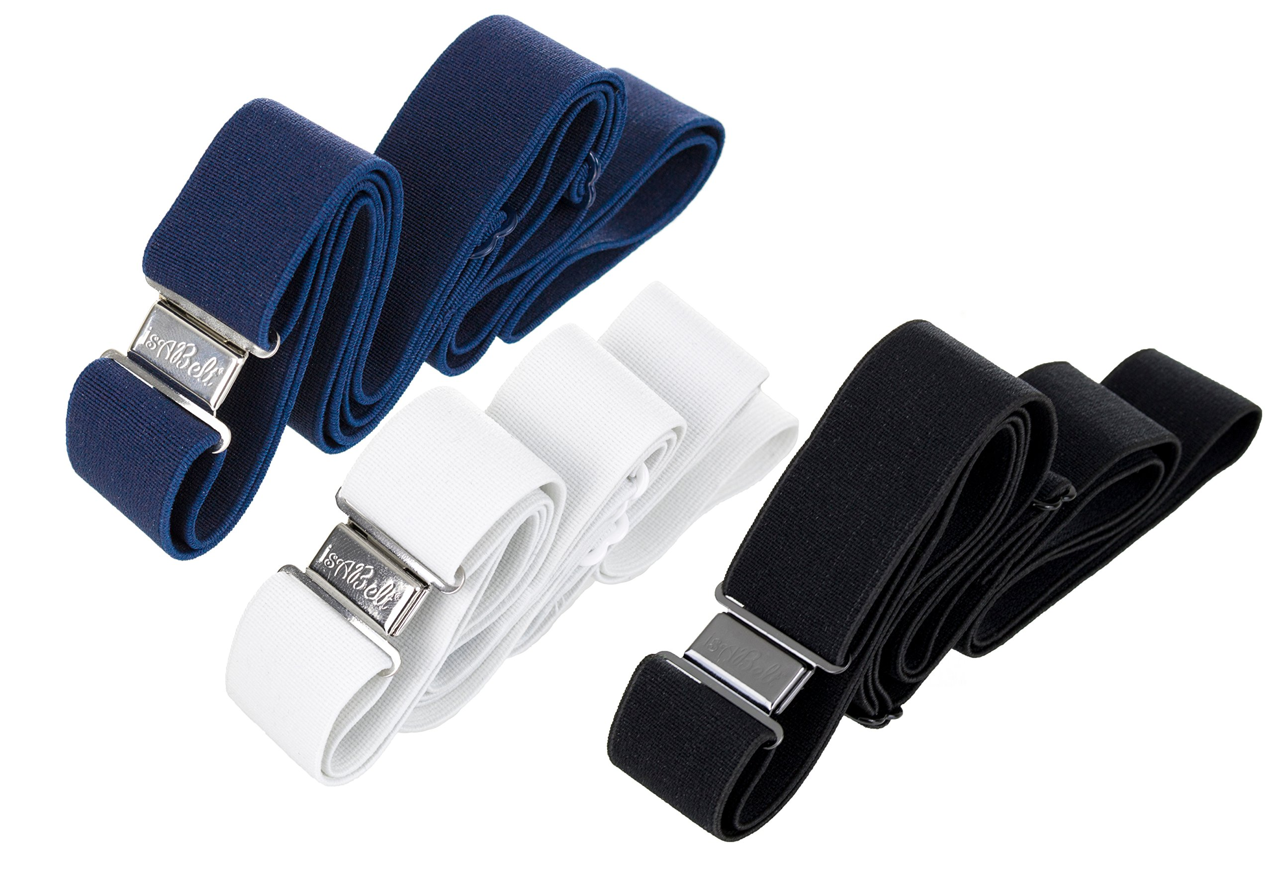 isABelt  No Show No Bulk Invisible Women's Stretch Fabric Belt with Flat Locking Magnetic Clasp (3-Pack - Colors: White, Blue, Black)