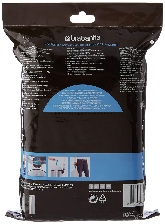 Dispenser da 30 Sacchetti 50//60L Brabantia PerfectFit Bags H Sacchetti per Spazzatura Bianco