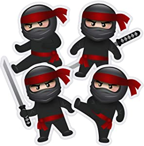 Ninja Cutouts - Ninja Birthday Party Decorations Supplies Karate Themed - 20 PCS