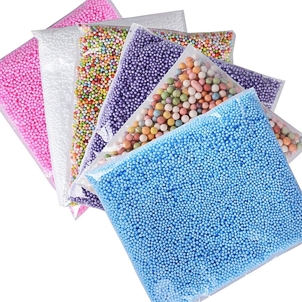 (77000pcs)6Pack Mini Balles en Mousse de Polystyrène Stylofoam Balls DIY Décoration Boules Décoratives DIY Artisanal De Modélisation et Slime (Multicolore)