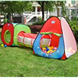 PortableFun Kids Playhouse Tent with Tunnel Set