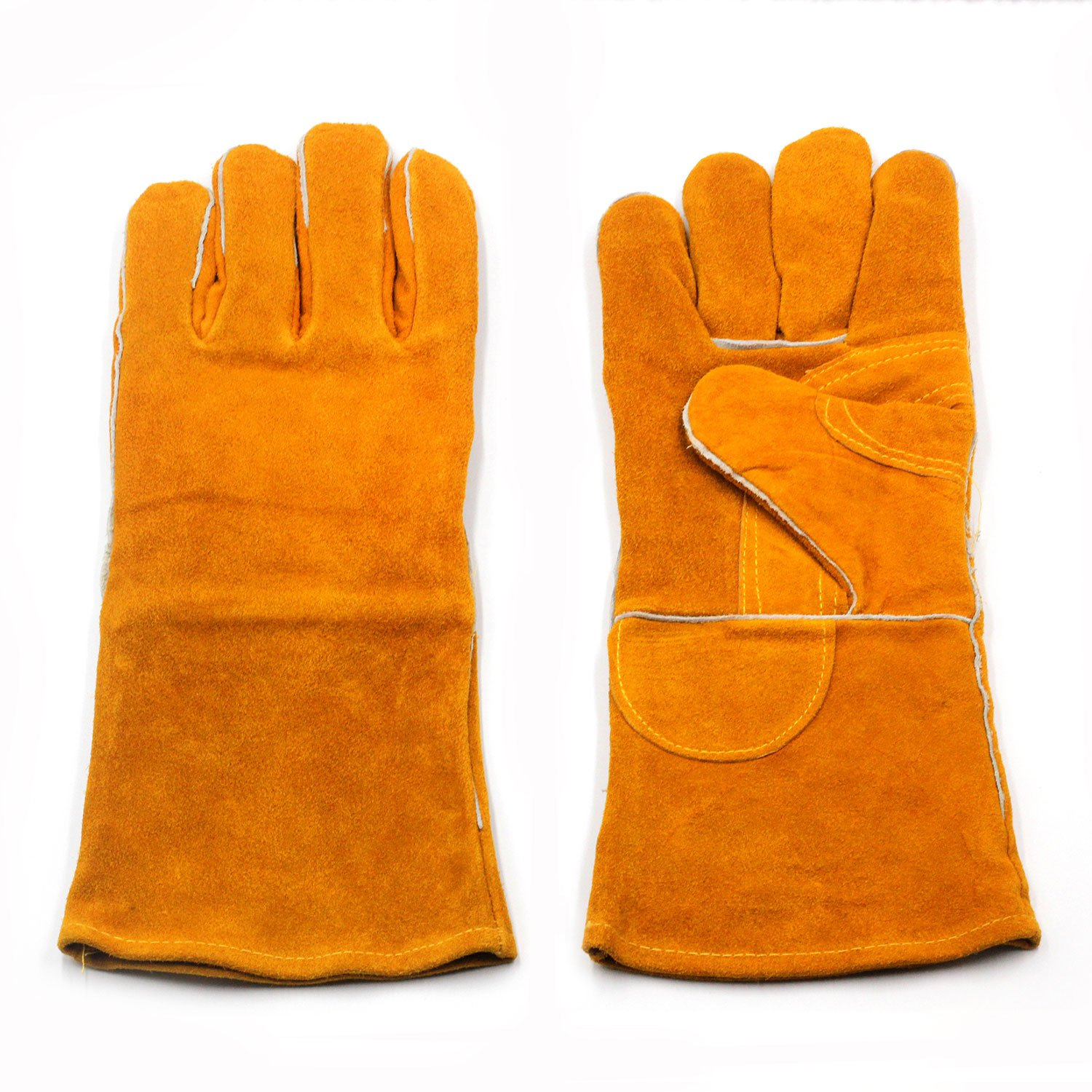 Welding Gloves Heat/Fire Resistant Leather Forge BBQ Gloves Perfect for Fireplace, Stove, Oven, Grill, Mig, Pot Holder, Animal Handling with 14 inches Extra Long Sleeve (Yellow)