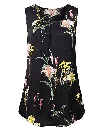a770473254b Timeson Women s Sleeveless Floral Chiffon Blouses Round Neck Loose ...