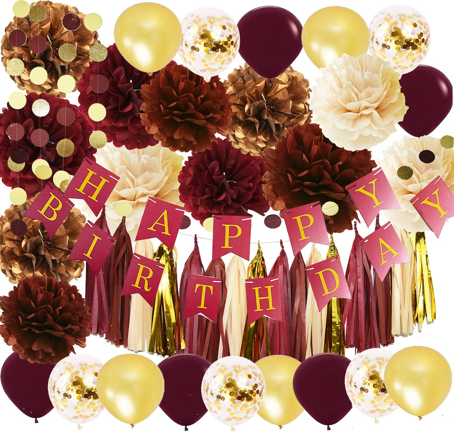 Wine Burgundy Champagne Gold Birthday Party Decorations/Fall Birthday Decor Happy Birthday Banner Maroon Gold Balloons Women Burgundy 30th/40th/50th Birthday Party Decorations