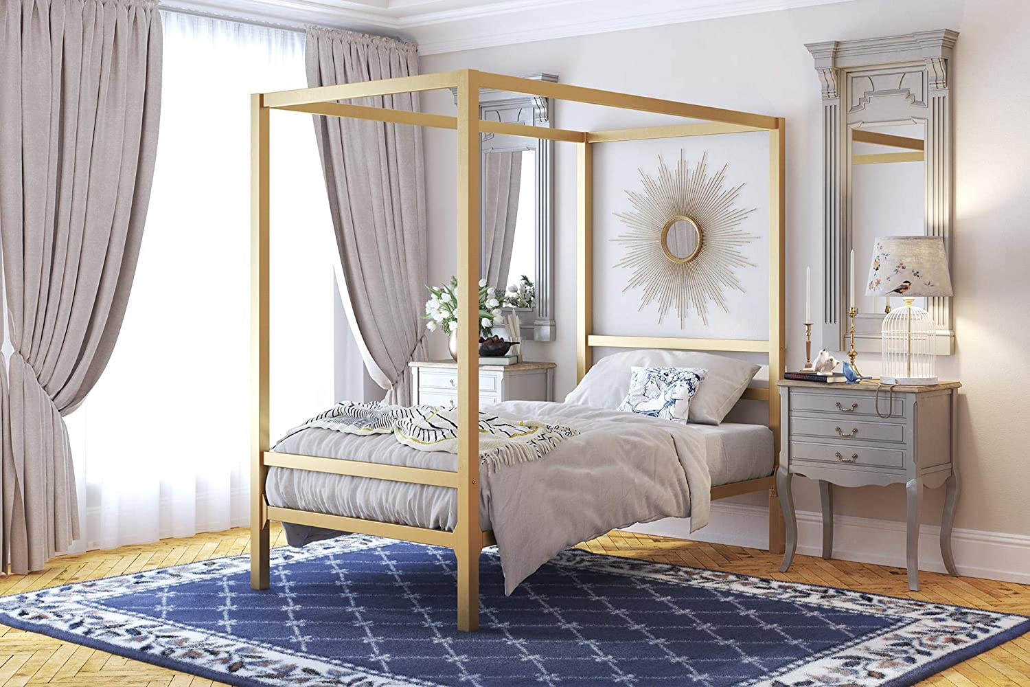 DHP Modern Canopy Bed with Built-in Headboard, Classic Design, Twin Size, Gold