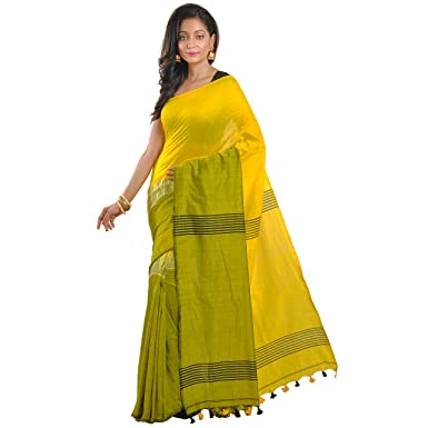 ff9afc7ec690f8 Avik Creations Women's Cotton Saree With Blouse Piece (Ac-1004,Green, Yellow,  Black,Free Size): Amazon.in: Clothing & Accessories