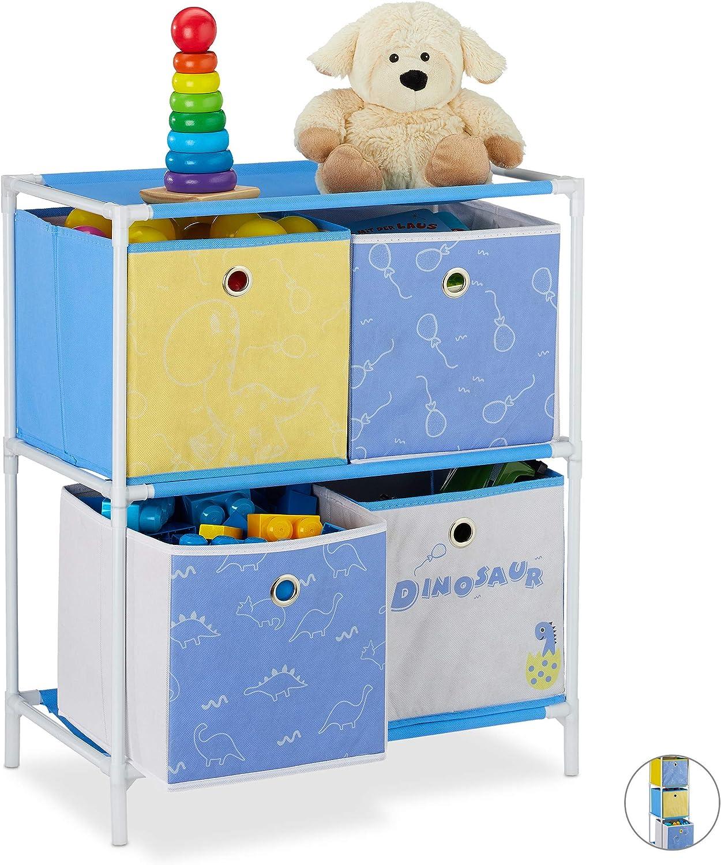 HBT 89x27,5x30 cm 3 Boxen Jungen /& M/ädchen Regal Kinderzimmer Relaxdays Kinderregal Spielzeug Dino-Design bunt