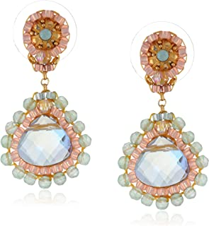 product image for Miguel Ases Rainbow Hydro-Quartz and Jade Small Teardrop Earrings