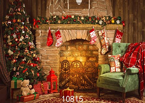 sjoloon 7x5ft christmas photography backdrop for children christmas tree gifts fireplace photo backdrop red candle fire