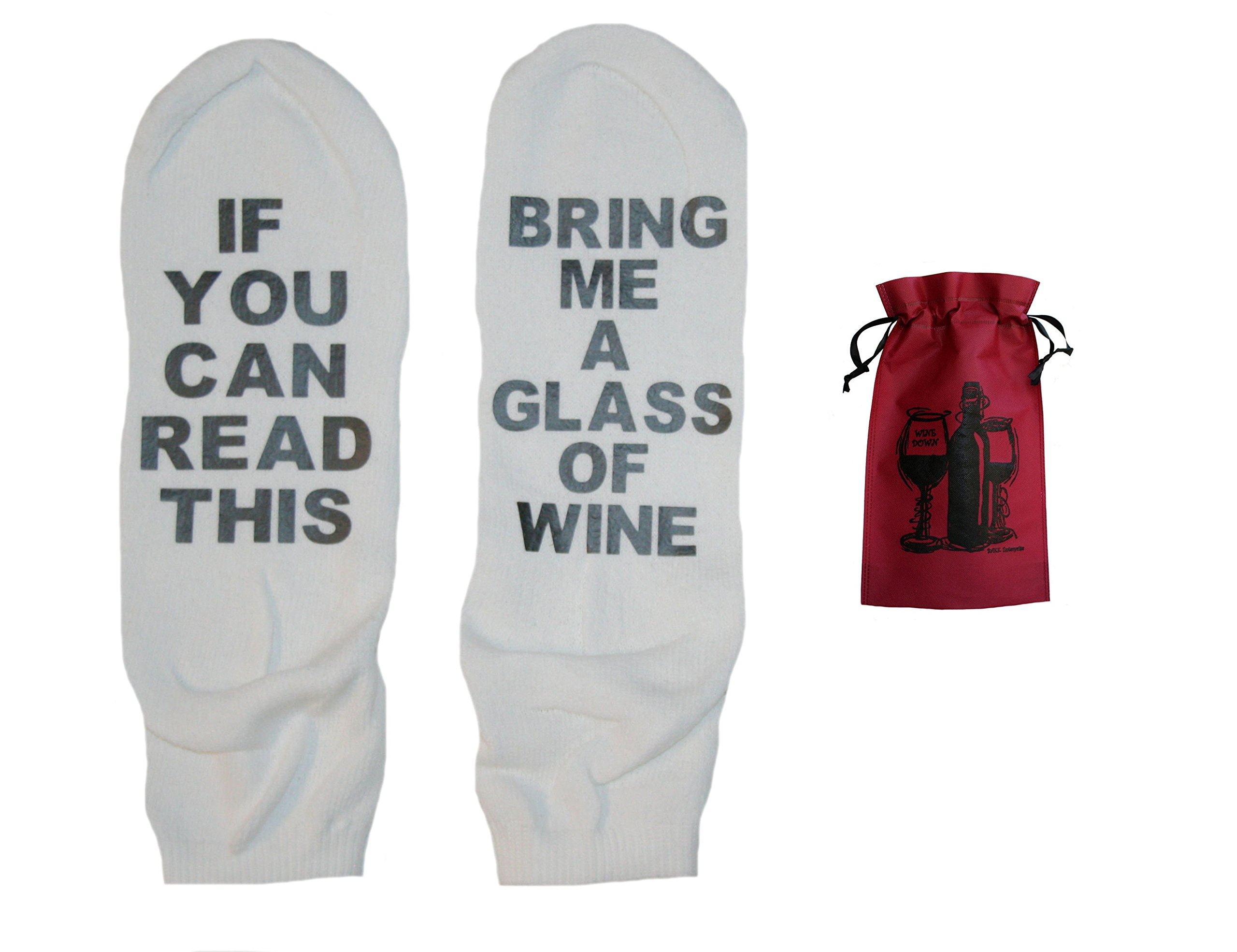 Speaking Socks Bring Me A Glass Of Wine Ankle Socks & Wine Bag Gift Set (11-15, White/Black)