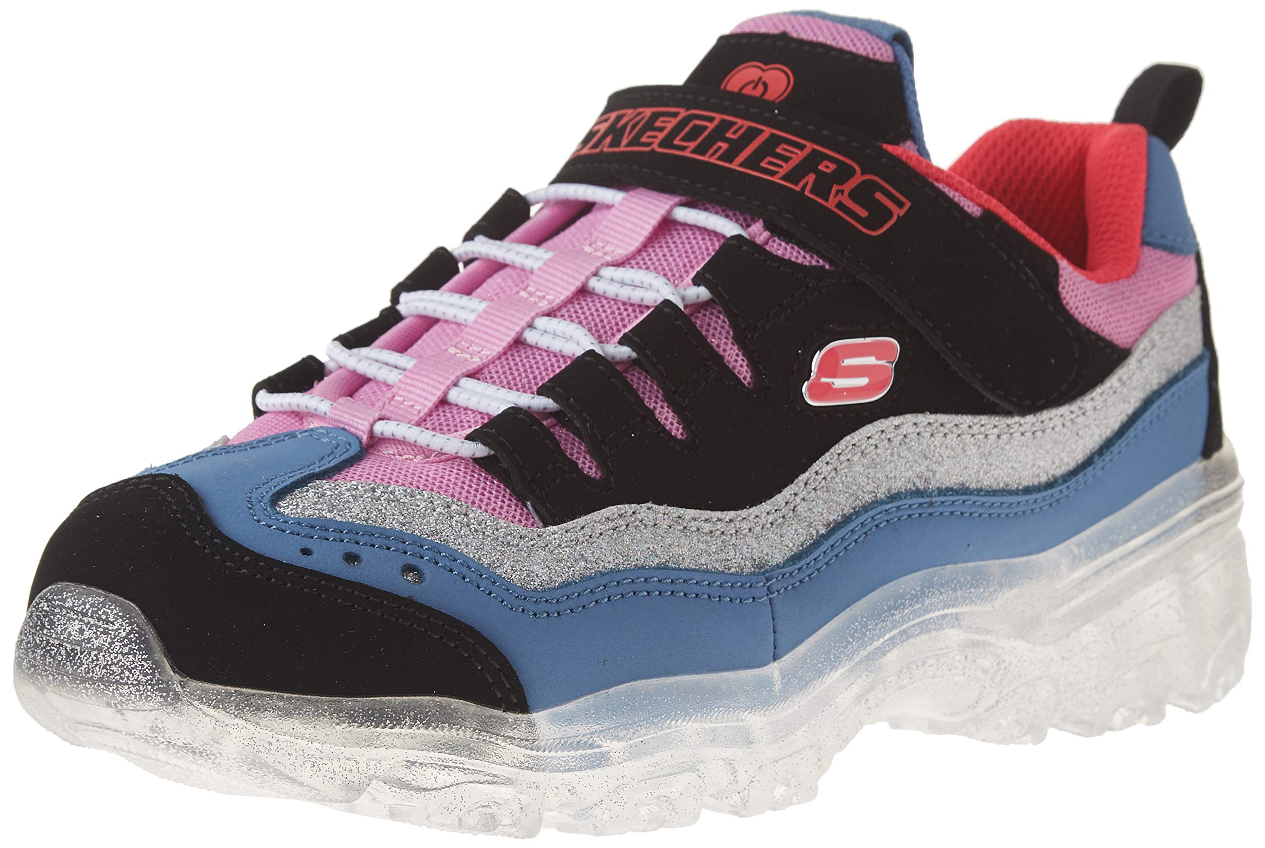 Skechers Kids Girls' ICE Lights Sneaker, Black/Pink/Purple, 4 Medium US Little Kid