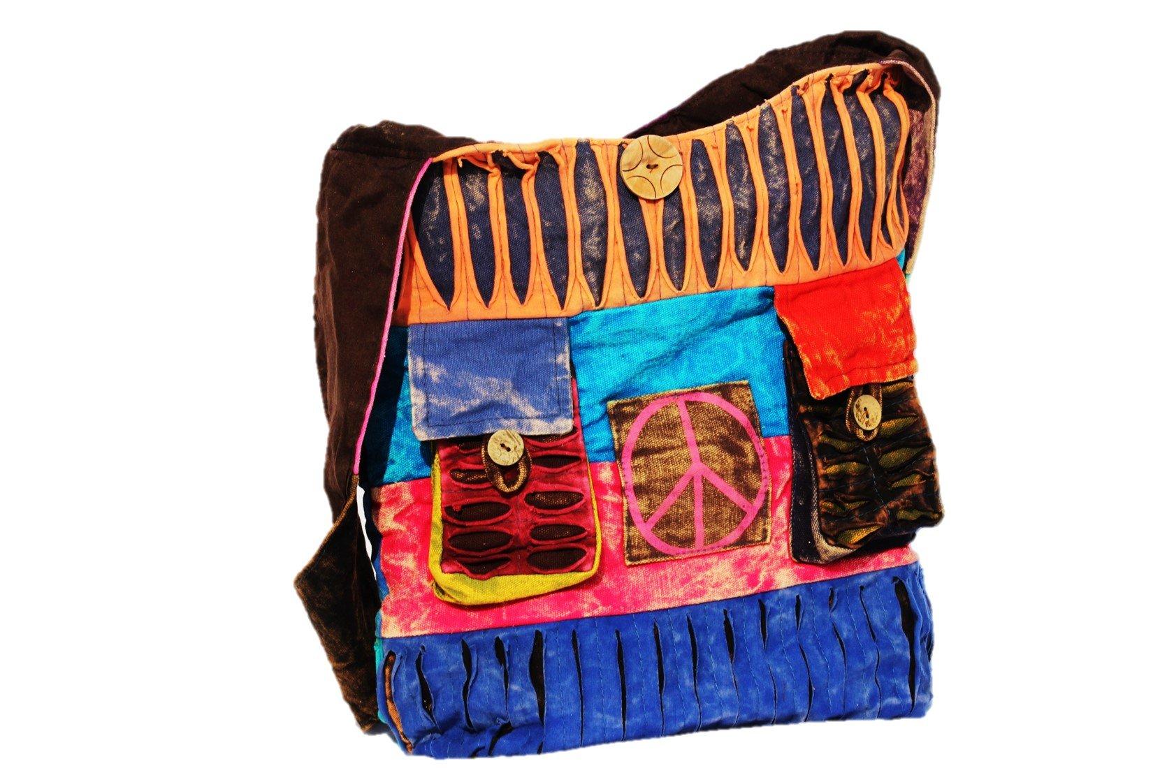 TRIBESMAN-Blue Red Hobo Cotton Sling Cross Body Messenger Shoulder Bag Hippie Boho Bohemian Light Roomy Spacious