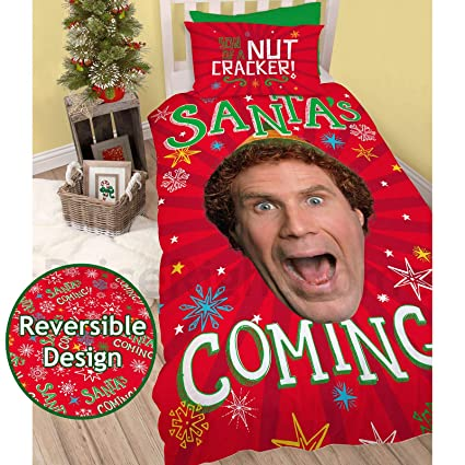Will Ferrell Christmas Movie.Elf Santa Is Coming Christmas Festive Reversible Two Sided Official Bedding Duvet Cover Featuring Will Ferrell With Matching Pillow Case Multi