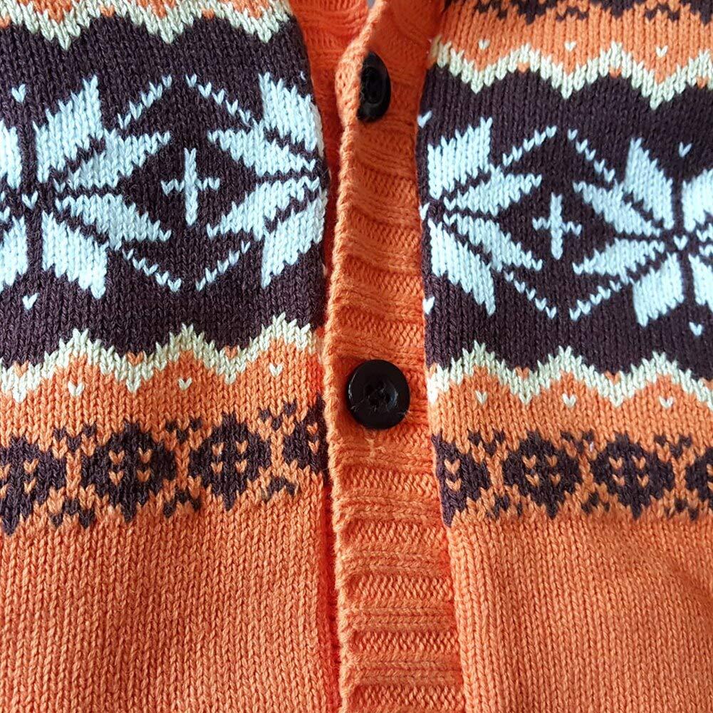 AMIYAN Neugeborene Strickjacke Baby M/ädchen Jungen Kapuzenmantel mit Flanell gef/ütterte Herbst Winter Kapuzejacke mit Norweger-Muster Sweatshirt Outwear 1-3 Jahre