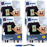 "Avery Dark T-Shirt Transfers, Matte, 8-1/2"" x 11"", 20 Sheets (3279) Bundle with Blue Retractable Gel Pen"