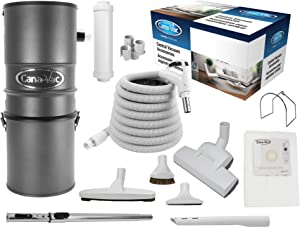 CanaVac CV700AP Compact Ethos Series Central Vacuum Cleaner - Reliable Flow-Thru Motor 700 Air Watts - Hybrid Filtration | with European Rug and Floor Accessory Package