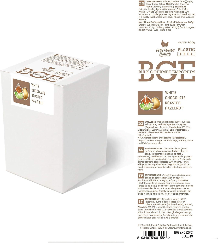 Bulk Gourmet Emporium - Avellanas tostadas bañadas en chocolate blanco, producto vegetariano, halal y sin envase de plástico, 460 gr