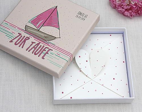 Geldgeschenk Zur Taufe Geld Verpackung Glückwunschkarte Zur Taufe Für Junge Und Mädchen Personalisiert Boot Sailing In Love