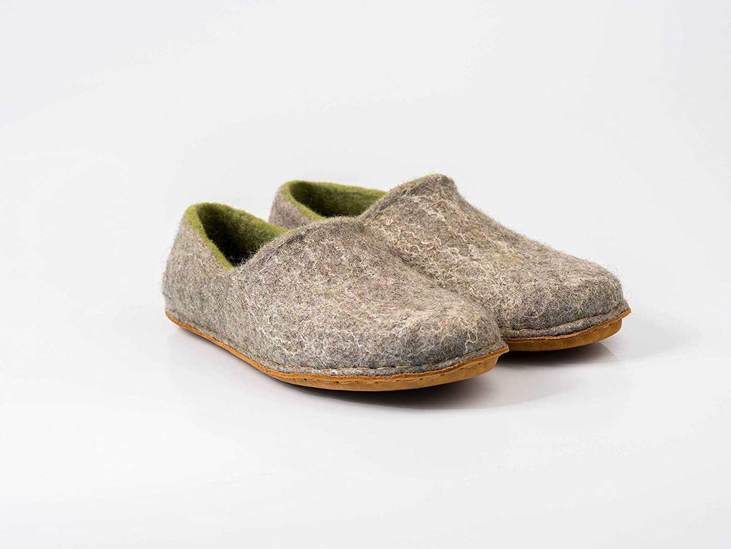 Woodland gray felted wool slippers for women, Handmade warm home shoes