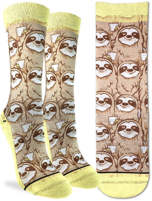 Good Luck Sock Women'S Coffee Sloth Crew Socks - Yellow, Adult Shoe Size 5-9 -